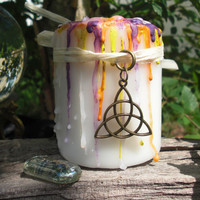 BEAUTY SPELL CANDLE with 3 Free Goddess Spells for Self-Improvment, Beauty, Weight Loss, Power of 3 Charm, Triple Goddess Rune, Wicca