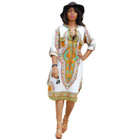 African Women Clothing Casual Deep V-Neck Traditional African Print Party Dashiki Dresses vestidos femininos IMY66