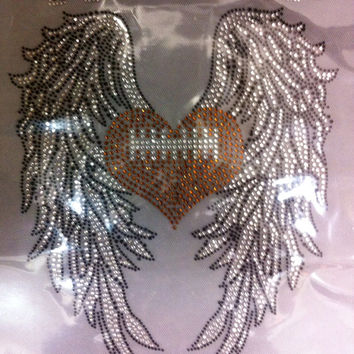 FOOTBALL WINGS*** Mom team aunt niece child rhinestone iron on hotfix transfer - DIY hot fix shirts t-shirts tees custom grandma for backs