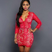 Women's Summer Dresses Fashion  Night Club Lace Dress