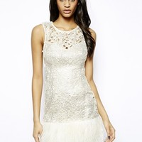 Lipsy VIP Waxed Lace Dress with Feather Trim