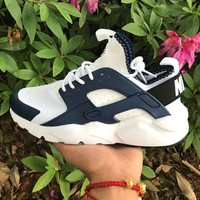 Best Online Sale Nike Air Huarache 4 Rainbow Ultra Breathe Men Women Hurache White/Blue Running Sport Casual Shoes Sneakers - 112