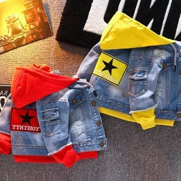 Denim Jacket With A Hoodie Jeans Jacket For Kids