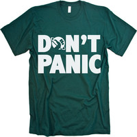 Hitchhiker's Guide to the Galaxy Don't Panic (white on forest green) MENS American Apparel Tshirt