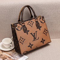 Louis Vuitton letter color matching printing fashion casual ladies large capacity handbag shoulder messenger bag