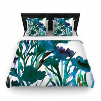 "Ebi Emporium ""Petal For Your Thoughts Teal"" Turquoise Green Woven Duvet Cover"
