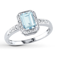Aquamarine Ring 1/20 ct tw Diamonds 10K White Gold