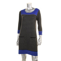 Jessica Howard Womens Petites Knit Colorblock Sweatshirt Dress