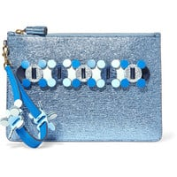 Anya Hindmarch - Circulus large laser-cut appliquéd metallic textured-leather pouch