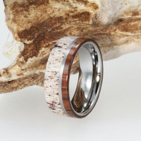 Mens Wedding Band - Titanium Ring Inlaid with Ironwood and Deer Antler - Natural  Materials