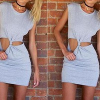 CUTE BOW GREY DRESS