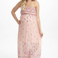 Pale Pink Floral Border Chiffon Strapless Maternity Maxi Dress