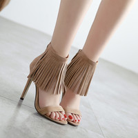 Sexy Suede Fringed Tassel Buckle Ultra High-Heeled Sandals for Women in Summer Shoes