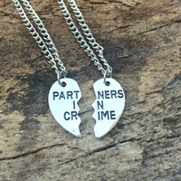 Silver Partners in Crime Necklace, Best Friend Necklace, BFF necklace, Split Heart Necklace, Best Bitch Birthday Gift