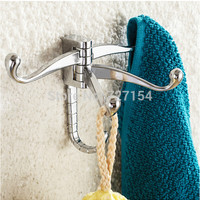 Free Shipping Modern Polished Chrome Bathroom Towel Hook Clothes Hanger Swivel Hook Wall Mount
