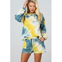 Blue and Yellow Tie Dye Shorts Set