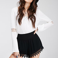 Embroidered Crepe Shorts