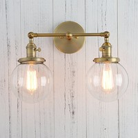 """Permo Double Sconce Vintage Industrial Antique 2-lights Wall Sconces with Dual Mini 5.9"""" Round Clear Glass Globe Shade (Antique)"""