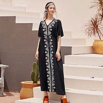 2020 Elegant Embroidered Black Cotton Tunic Women Beachwear Kaftan Sexy V-Neck Butterfly Sleeve Summer Dress Beach CoverUp Q1042 (Black One Size)
