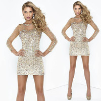 2015 Sheath Rhinestone Beaded Party Dresses Sexy Column Illusion Long Sleeves Shining Short Prom Dress GL