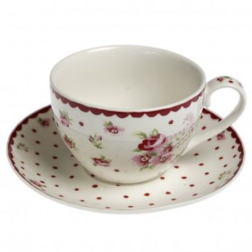 Paisley Rose Tea Cup And Saucer | DotComGiftShop