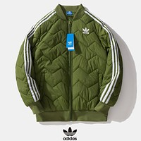 Adidas New fashion embroidery letter leaf long sleeve keep warm coat cotton clothing Army Green