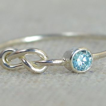 Sterling Silver Aquamarine Infinity Ring