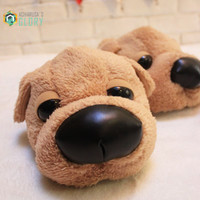 Winter Home Funny Slippers Christmas gift 2016 Men Women Cotton cute Dog female Plush slipper floor Fantufas shoes fenty slides
