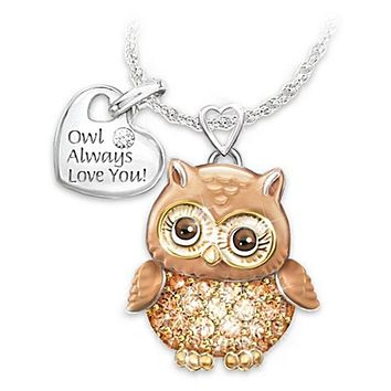 Exquisite Fashion Creative Cute Owl Necklace Always Love You Owl Design Rhinestones Crystal Pendant Necklaces Lover's Gift