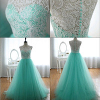Sleeveless Lace Dress Women's Fashion Prom Dress [4919730244]