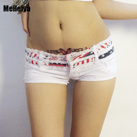 Sexy Pole Dancing Hot Shorts Stripe Micro mini Bikini Denim Shorts Double Button Low Rise Culb Dance Wear Booty Shorts FX1035
