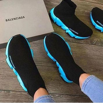 Balenciaga stitching color high-top embroidery letters platform casual shoes sneakers Socks shoes sneakers