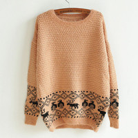 retro wild deer head sweater woman-EMS from ClothLess