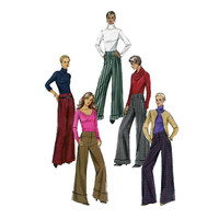 2000s VOGUE PANTS PATTERN Mock Fly Slightly Flared Pants with Cuffs Vogue 8131 Women's Sewing Patterns UnCUT Waist 26.5 28 30 Size 12 14 16