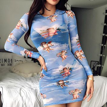 Fashionable sexy mesh see-through dress long sleeve angel print wrap Dress