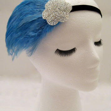 The Lucille - light blue Gatsby headband, blue art deco hairpiece, sky blue feather headband, silver beaded fascinator, burlesque costume