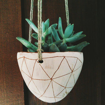 Hand Carved Ceramic Hanging Planter / Terracotta & White Stoneware Hanging Pot with Geometric Design / Succulent, Cactus, Herb, or Air Plant