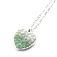 Heart Shape Pendant necklace with white and mint pebbles, hand made modern mosaic jewelry two tone jewelry
