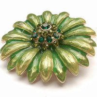 Vintage 1960's Monet mod flower brooch, green and yellow enamel brooch, rhinestone flower brooch, flower power 1960's fashion jewelry