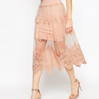 ASOS Prom Skirt in Embroidered Lace Mesh at asos.com