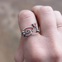 Silver Snail Ring, Oxidized Sterling Silver