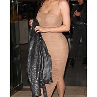 Young And Rich Taupe Brown Mesh Sleeveless Spaghetti Strap Square Neck Ruched Side Slit Bodycon Maxi Dress - Inspired by Kylie Jenner