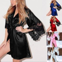 Sexy Large Size Sexy Night Robe Lace Bathrobe Perfect Wedding Sleepwear Summer Female Bathrobe Lingerie Clothes Home Femme