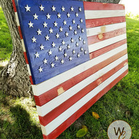 """ON SALE Rustic Wood American Flag Sign, 24"""" x 36"""" Sign, Patriotic House Sign, Rustic USA Flag, American Flag Yard Art, Made to Order, Free S"""