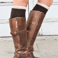 Coffee Knitted Boot Cuffs with Lace Trim