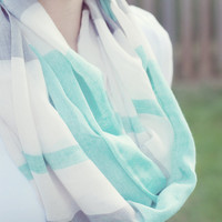 Color Block Infinity Scarf - Mint or Pink