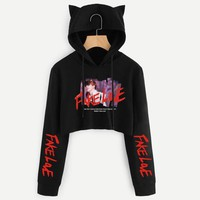 KPOP BTS Bangtan Boys Army  Love Yourself Cropped Hoodie   boys Album Sweatshirt Cat Hooded Pullover Crop Tops women hoodies and sweatshirts AT_89_10