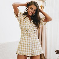 8DESS V-neck short sleeve plaid women playsuit Elegant casual streetwear jumpsuit romper Sash belt ladies overalls