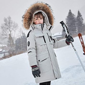 OLEKID -30 Degree Russian Winter Boys Down Jacket Hooded Fur Collar Girls Winter Coat 5-14 Years Kids Teenage Snow Outerwear