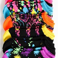 Pack of Six No Show Ankle Socks with Multi Color Splatter Print